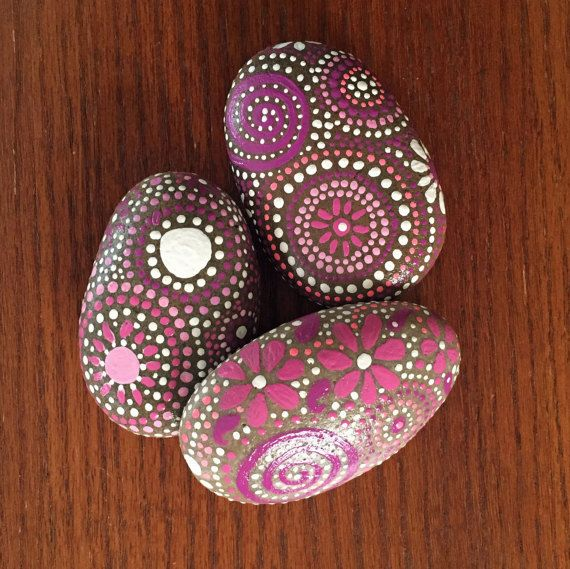 pink persuasion collection # 4, home decor, river rock art, painted stone, Mandala Art, pink, white, swirls, spirals, garden decorations