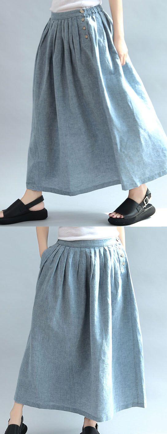 light blue summer linen button maxi skirts