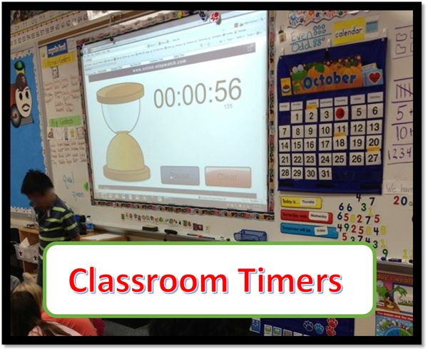 Online Classroom Timers to project on whiteboard.