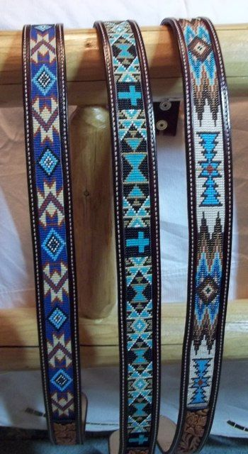 These are more examples of different patterns you can choose form. You can choose any color leather and any color of beads, also any pattern! You can totally design your own belt, or leave it up to us. This leather work is natural handcarved flowers with a painted background of chocolate brown.
