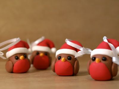 inspiration for cake toppers or decorative gifts Robin Christmas Decorations by We laugh indoors