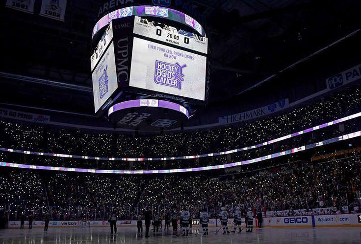 Penguins Mobile: PITTSBURGH, PA - NOVEMBER 22:  Players from the Pittsburgh Penguins and the Vancouver Canucks stand for a moment of silence for 19 years of Hockey Fights Cancer at PPG Paints Arena on November 22, 2017 in Pittsburgh, Pennsylvania.  (Photo by Joe Sargent/NHLI via Getty Images)