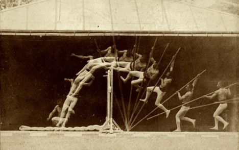 Etienne Jules Marey Chronophotographic study of man pole vaulting 1890