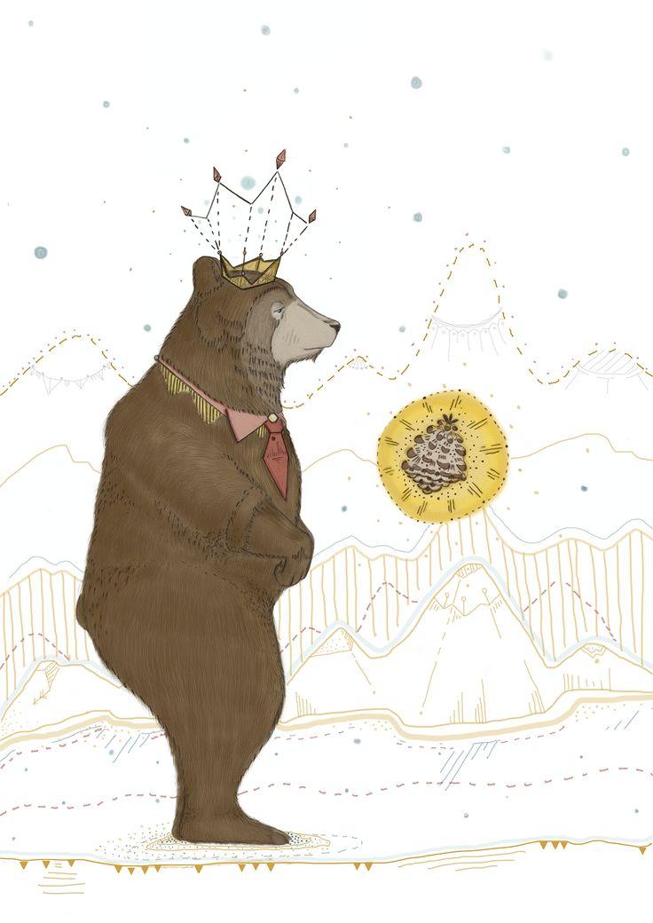 Autorretrato/Self Portrait #Bear #selfportrait #animals #pine #color #crown #illustration #artist #art #digital