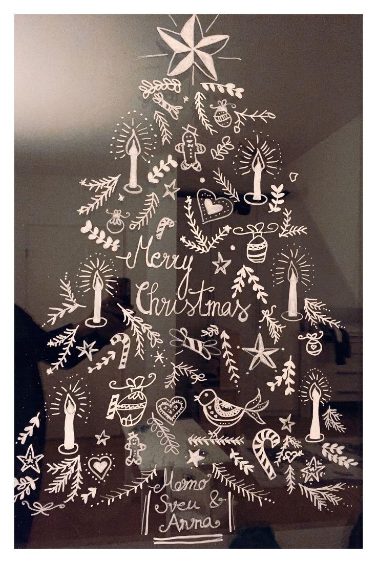 Weihnachtliches Fensterbild mit Kreidestift gemalt. ️ ...