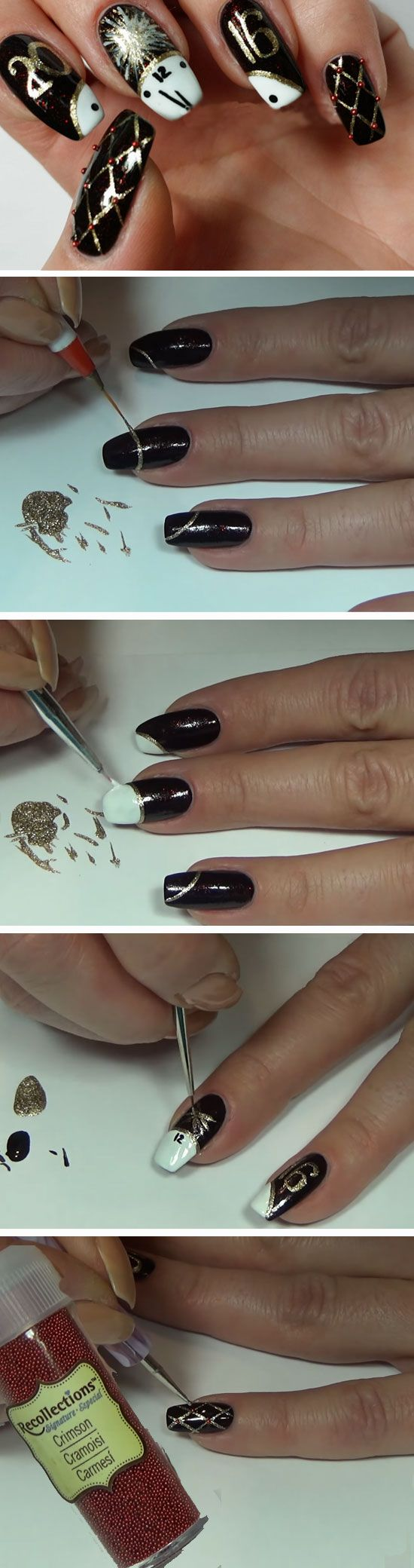 Clocks + Bling| Easy New Years Eve Nail Designs | Beautiful Glitter Nails Designs Bling