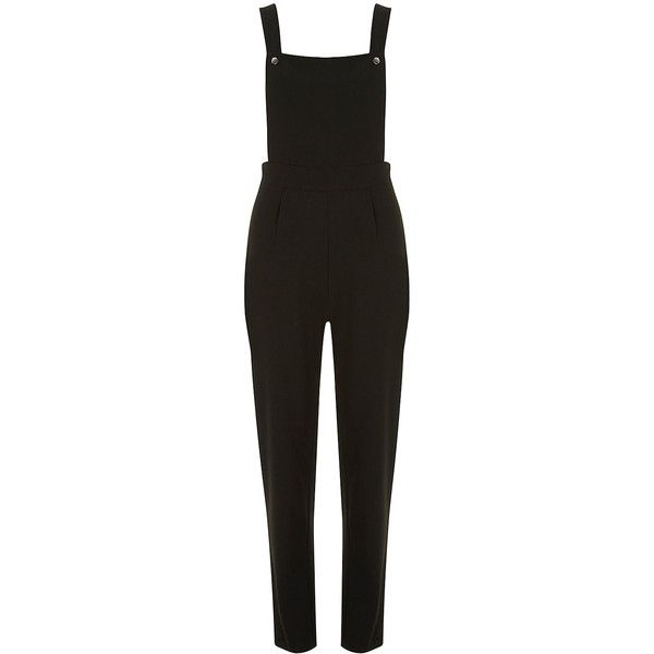 Dorothy Perkins Crepe dungarees (€23) ❤ liked on Polyvore featuring jumpsuits, dungarees, playsuit, pants, dresses, black, playsuit jumpsuit, romper jumpsuit, dorothy perkins and crepe jumpsuit