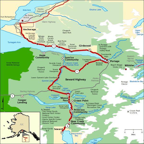 Seward Highway Alaska - America's most scenic Byways --127 miles ( 3 hour drive ) Anchorage to Seward