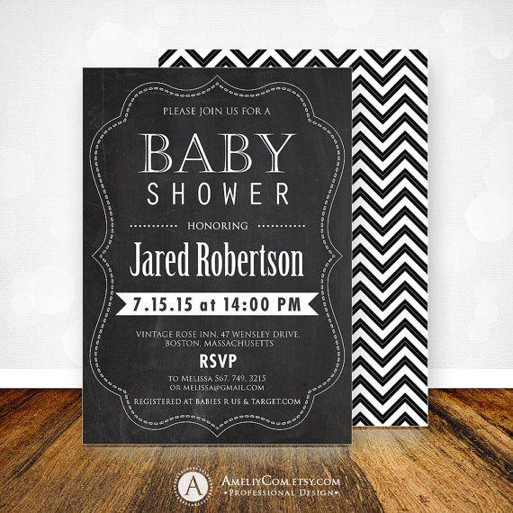 baby shower invitation chalkboard printable black u0026 white chevron invate party 5 x 7 editable pdf flyer digital instant download diy