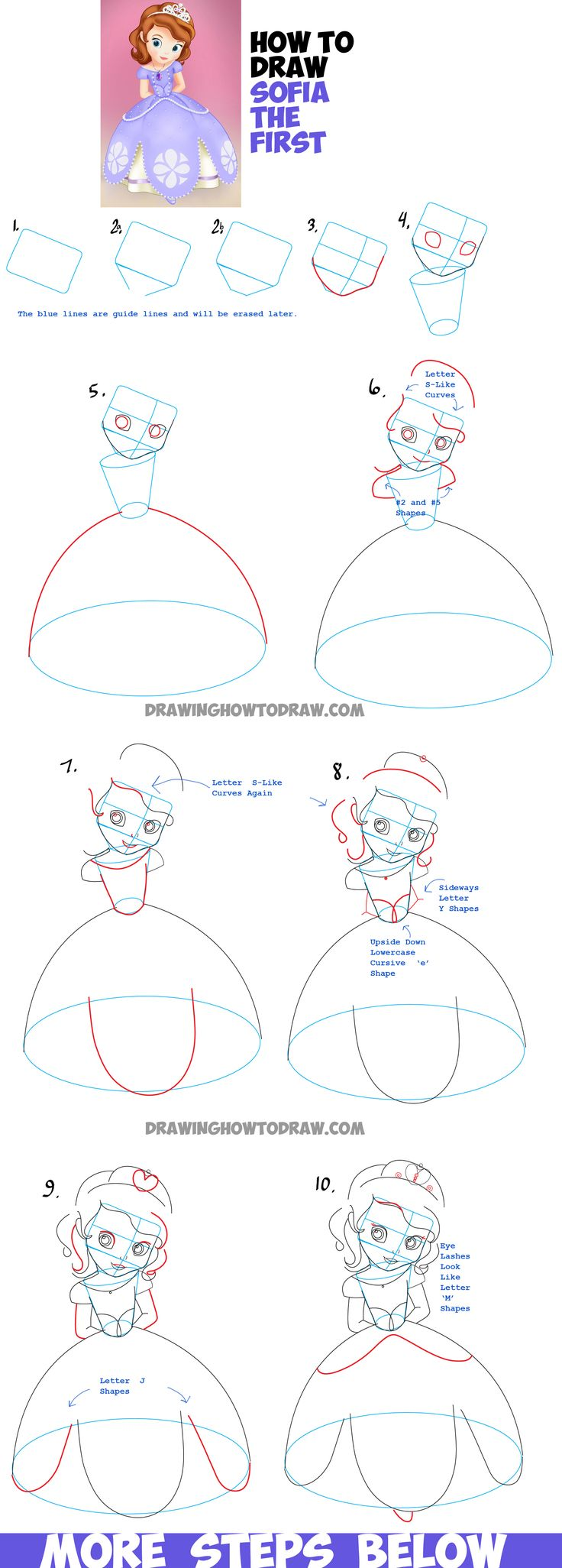How To Draw Sofia From Sofia The First  Easy Step By Step Drawing Tutorial