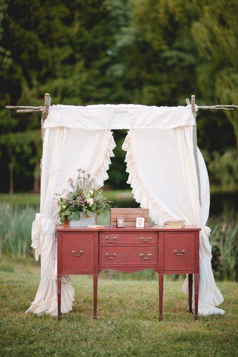 A beautiful DIY Altar - Intimate $5,000 Tree Farm Wedding in Connecticut: Kristina and Jeffrey