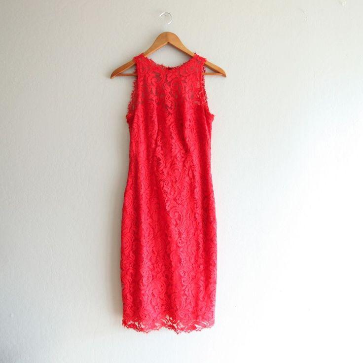 Tadashi Shoji Red Sleeveless Lace Sleeveless Bandage Sheath Dress #TadashiShoji #Sheath