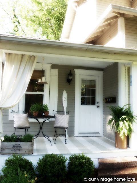 I love everything about this little porch but I want to make those porch curtains!: Back Side Porch, Outdoor, Diy Curtain, Pipe Curtain Rods, Vintage Homes, Industrial Pipe, Porches, Porch Ideas