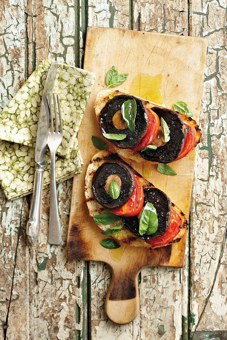 Gebakte sampioen-en-tamatie-bruschetta, Dis 'n baie lekker voorgereg of ligte middagete