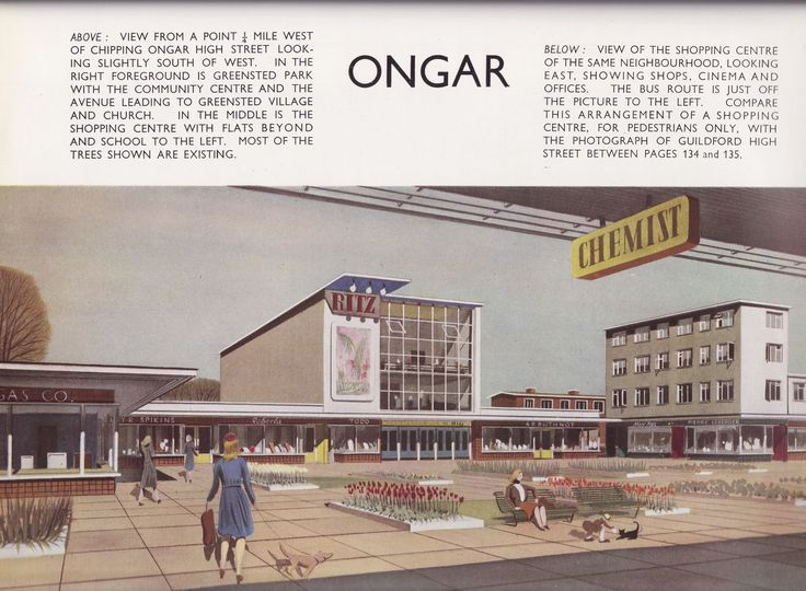 Greater London Plan 1944 - proposals for Chipping Ongar New Town, Essex - Greensted neighbourhood shopping centre