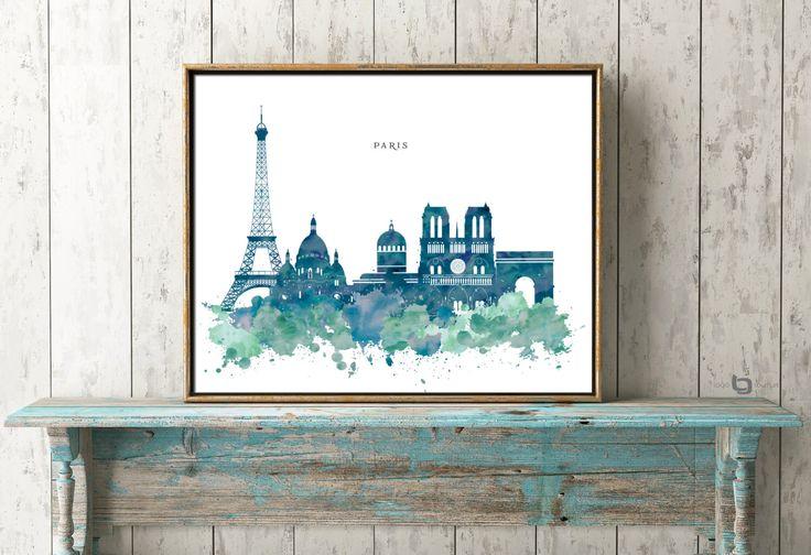 Paris Wall Art, Paris Watercolor Art, France, Skyline Print, Paris CityScape, Wall Art, Poster, Print Poster, Typography by LogoCouture on Etsy https://www.etsy.com/listing/472565395/paris-wall-art-paris-watercolor-art