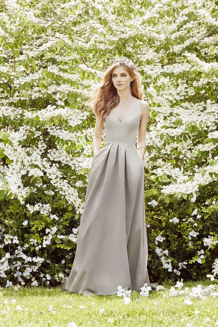 128 best ad campaigns images on pinterest hayley paige candlelight satin bridesmaid ball gown curved v neckline spaghetti straps natural waist side pockets ombrellifo Gallery