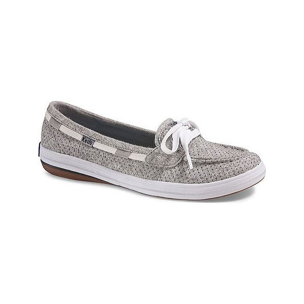 Women's Keds Glimmer Boat - Limestone Grey Shimmer Wool Casual ($54) ❤ liked on Polyvore featuring shoes, sneakers, casual, casual shoes, ortholite shoes, keds, eyelets shoes, grey trainers and nautical shoes