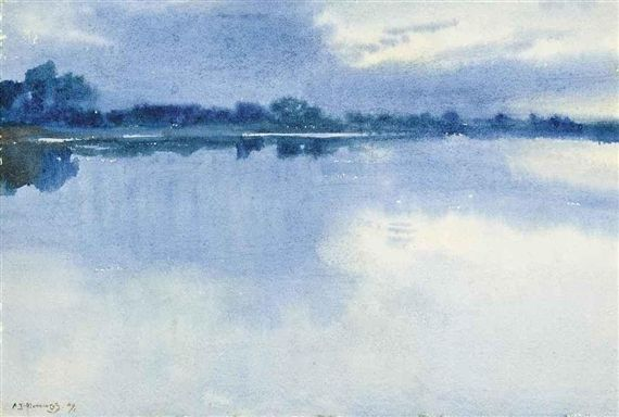 Artwork by Sir Alfred James Munnings, Twilight, Made of watercolour