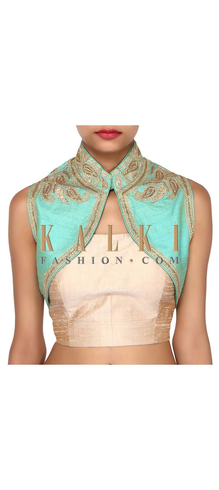 Buy Online from the link below. We ship worldwide (Free Shipping over US$100). Product SKU - 275652. Product Link - http://www.kalkifashion.com/turq-shrug-adorn-in-zardosi-embroidery-only-on-kalki.html