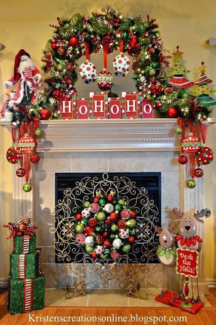Christmas mantel -- instead of swagging the garland under the mantle, swag it OVER the mirror -- I love this idea!