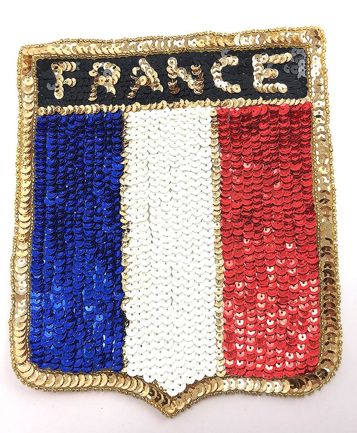 "France Patch with French Flag Colors, Sequin Beaded 8"" x 6.75"""