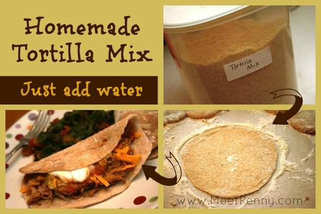 Make fresh tortillas using this homemade mix. Just add water. These are delicious!