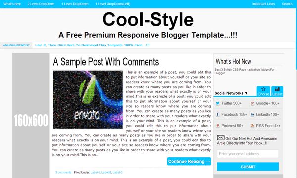 """CoolStyle: A Free Premium Responsive Blogger Template:   A 100% Free Premium Responsive #Blogger Template Named As """"Cool-Style-A Free List Style Pro- Responsive Blogger Template"""" With Full Of SEO And SMO Codes And Also With A Better User Interference And Design On Basis Of #Responsive Template With A Lot Of Plugin And Important Codes Added.  Features And Download Link: www.exeideas.com/2013/08/coolstyle-free-premium-responsive-blogger-template.html"""