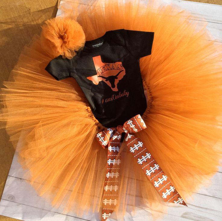 Texas Tutu/Texas/Texas Baby/Football/Baby Shower Gift/Austin/ Texas Onesie Set/Texas Orange Tutu/Longhorn fan tutu/baby girl/newborn by sunnyvilledesigns on Etsy https://www.etsy.com/listing/557719947/texas-tututexastexas-babyfootballbaby