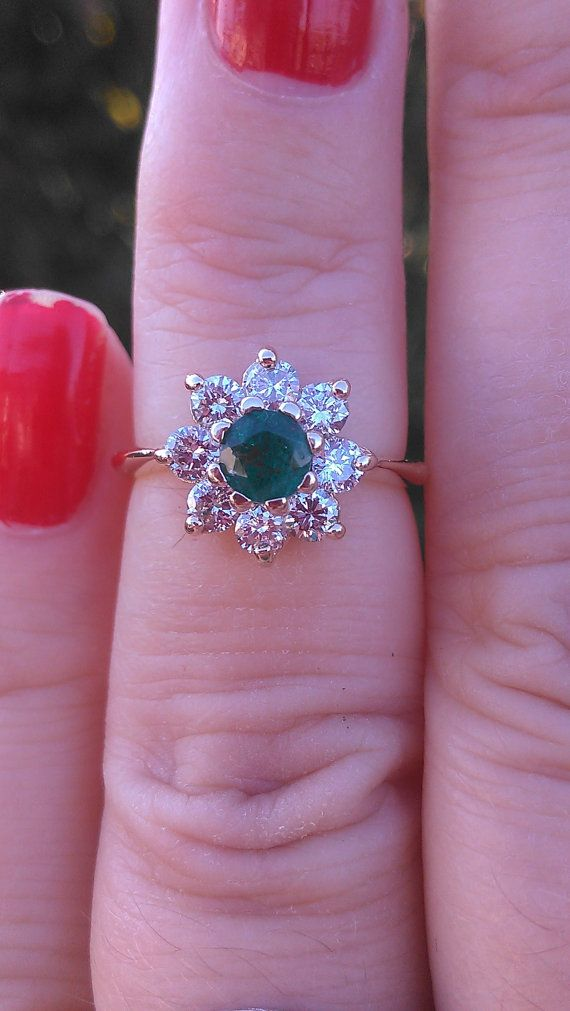 14k Gold Diamond Columbian Emerald Ring by MADAMECKERSON on Etsy, $450.00