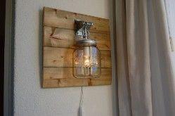 Beautiful wall lamp with a mason jar light. www.lampjesenzo.nl € 49,95