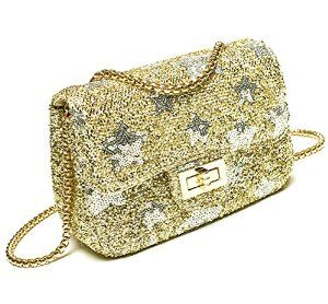 Dreams Mall(TM)Fashion Shining Paillette/Sequins with Star Pattern Mobile Phone Bag & Pouch & Purse & Wallet & Mini Shoulder Bag-Gold