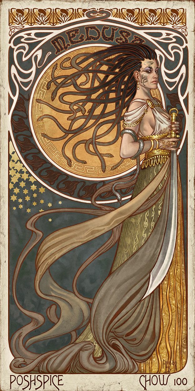Medusa- Queen of the Gorgons, Ancient and primordial goddess, Beautiful and terrifying to behold, Avenger and wards off all those who would trespass, she whose gaze petrifies the hearts of those who hold ill deeds and fear