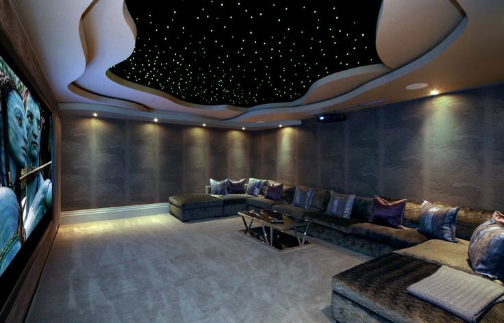 Home Theater with cloud ceiling and starscape