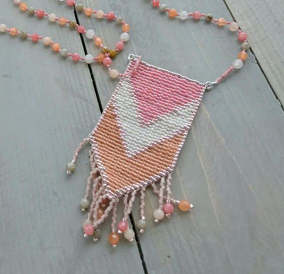 Coral and Peach Jade Loom Woven Tassel Long Mala Necklace