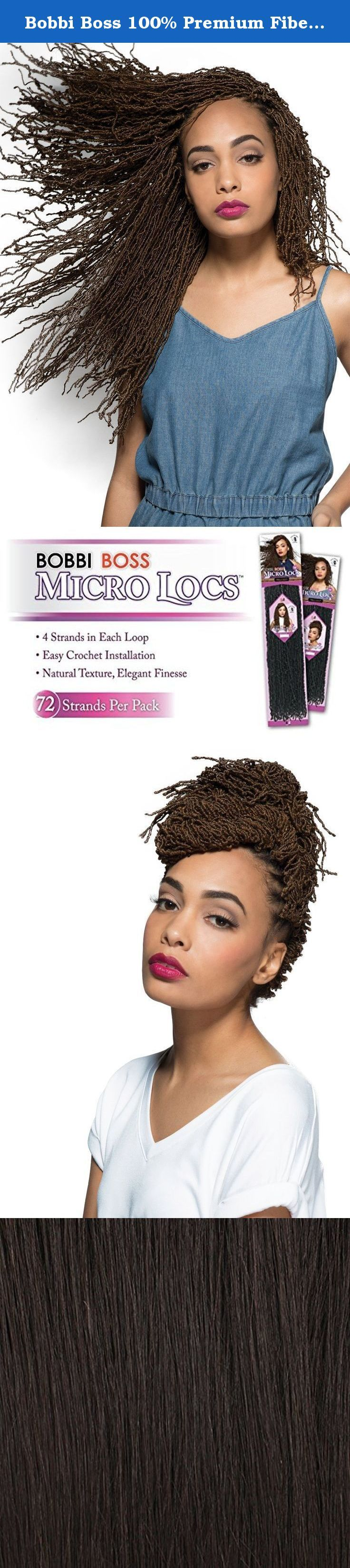 """Bobbi Boss 100% Premium Fiber Hair Micro Locs 14"""" - BMCRLC-14 (1B). Hand-Made Finish - Stunning, uniform strands in every bundle / Crochet Interlocking - Time-saving, effortless installation / Pre-made Loop - Fits perfectly into a crochet hook for ultra-easy interlacing / Natural Texture - Remarkably natural look & soft-to-touch handling / Excellent Hot Water Setting - Create beautiful, defined curls in seconds."""