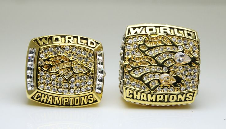 One Set 2Pcs 1997 1998 Denver Broncos super bowl Championship Ring 11 Size high quality in stock for sale