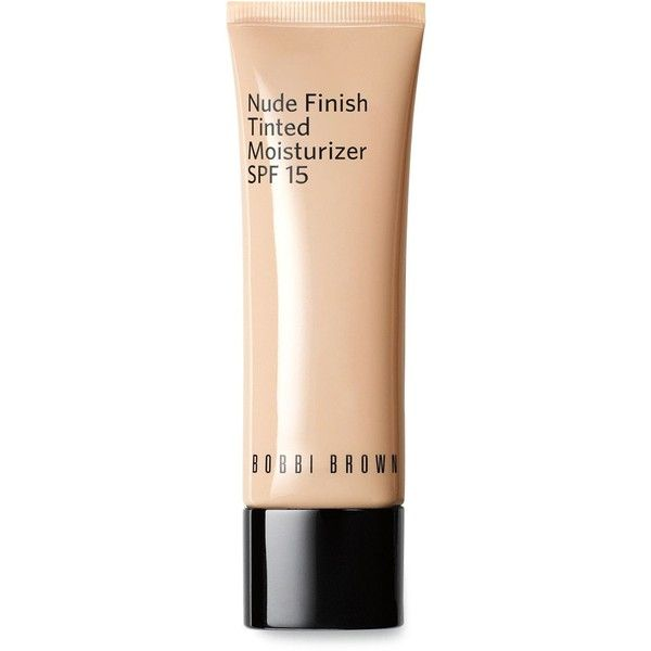 Bobbi Brown Nude Finish Tinted Moisturizer Spf 15 found on Polyvore featuring beauty products, makeup, face makeup, tinted moisturizer, beauty, cosmetics, porcelain tint, bobbi brown cosmetics and spf tinted moisturizer