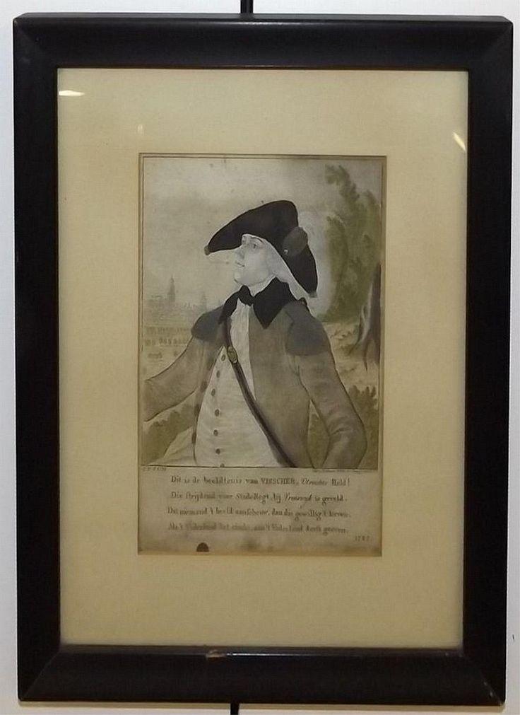 """Visscher, hero of Utrecht. 1787. Framed and under glass: 14"""" x 11.5""""."""