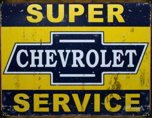 Super Chevy Service Tin Sign at AllPosters.com