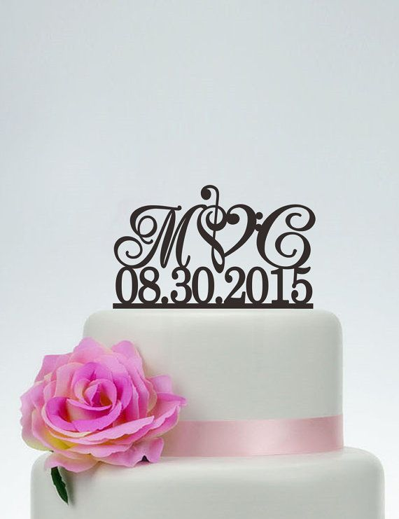Wedding Cake Topper,Initials Cake Topper With Date,Custom Cake Topper,Music Note Cake Topper,Personalized Cake Topper I025  Hi dear, Thank you so much for visiting my shop! I make cake topper for weddings, birthday, anniversary and all events. If you have any questions or needs just feel free to tell me. I will try my best to meet your needs.   ************ABOUT THE CAKE TOPPER************ • Each topper is laser cut from 1/8 inch thick acrylic  • Width : 5 to 8 Side to side (approximatel...