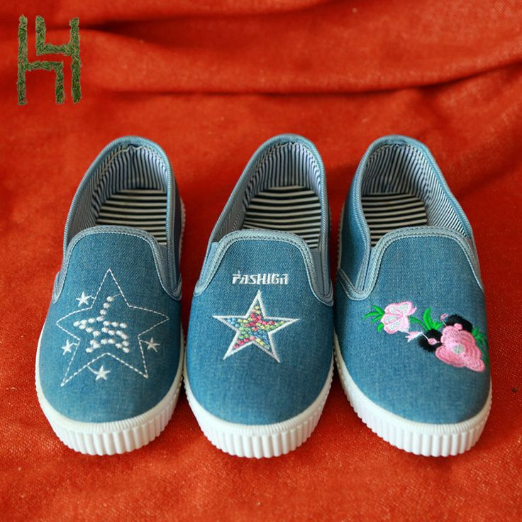 Oxford Cloth Embroidery Printing Women Causal Canvas shoes