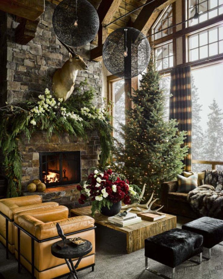 Designer Ken Fulk was tasked with decorating this stunning guest retreat for the holidays, located in the ultra-luxe community of Yellowstone Club, Montana.