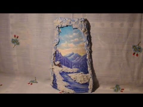 ▶ Tutorial: Decoupage su tegola di ceramica con effetto neve e decori in rilievo - YouTube