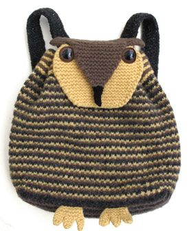 owl backpack from critter knits