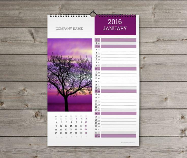 Wall Calendar 2016 design Template KW13-W21