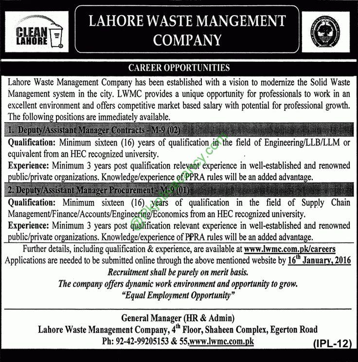 Multan Waste Management Company Multan Jobs Jobs In Pakistan - managing director job description