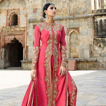 Light Coral Georgette Stylish Diva Look Salwar Kameez