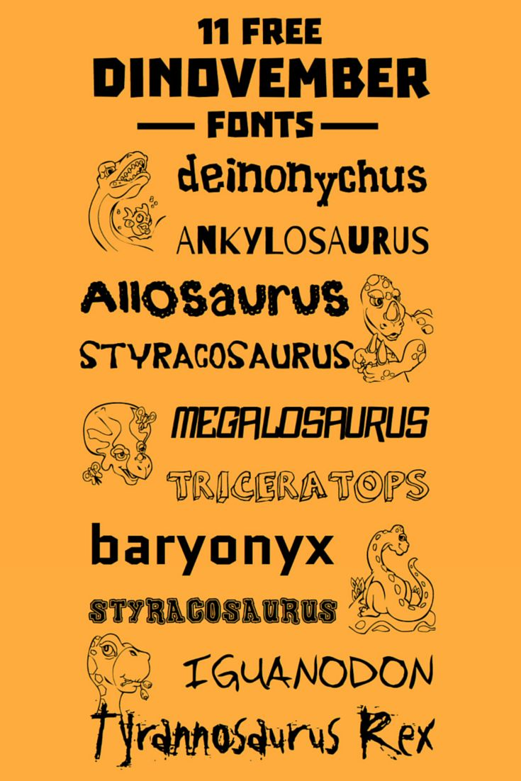 11 free Dinovember Dinosaur Fonts. Great for homemade comic strips, secret dinosaur messages, party invites and all other dinosaur fun.