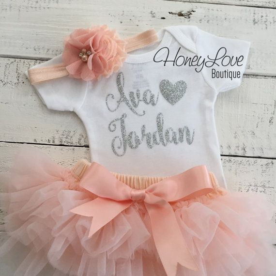 PERSONALIZED SET silver glitter shirt bodysuit peach ruffle tutu skirt bloomers, flower headband newborn baby girl take home hospital outfit by HoneyLoveBoutique on Etsy